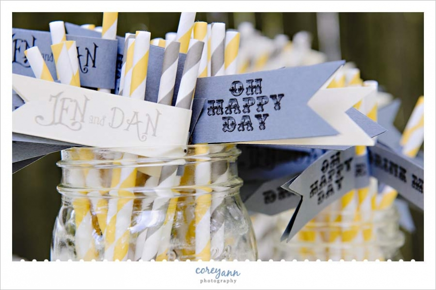 custom flags for straws for a yellow and grey wedding