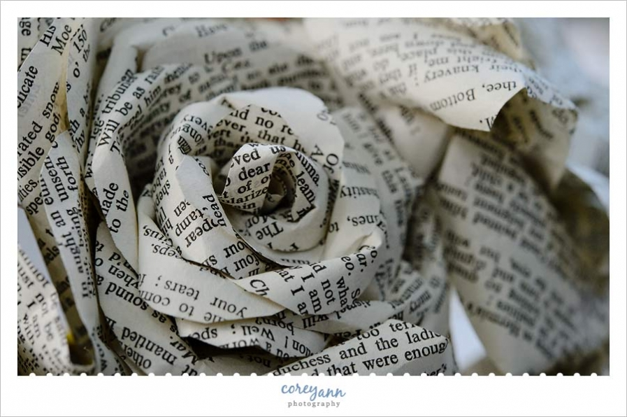 detail image of book bouquet made up of shakespeare sonnets