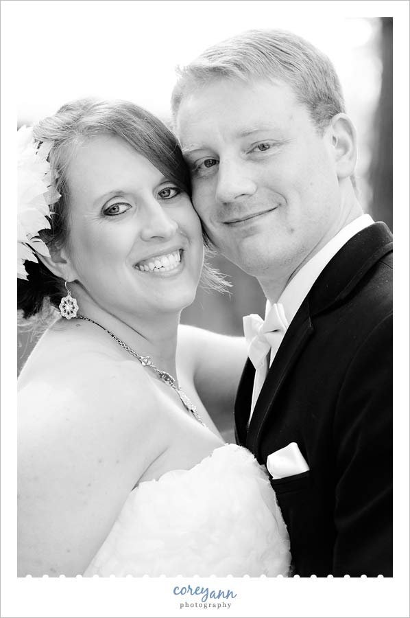 portrait of bride and groom in akron ohio