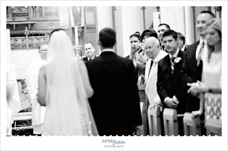 bride walking down aisle at wedding ceremony in downtown cleveland