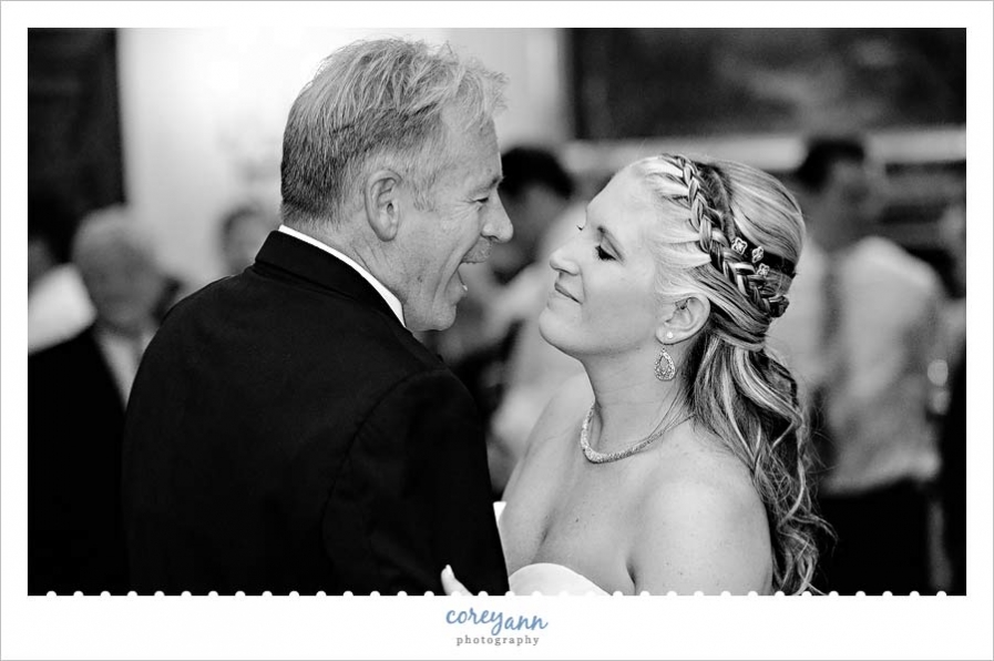 bride and father dance during wedding reception