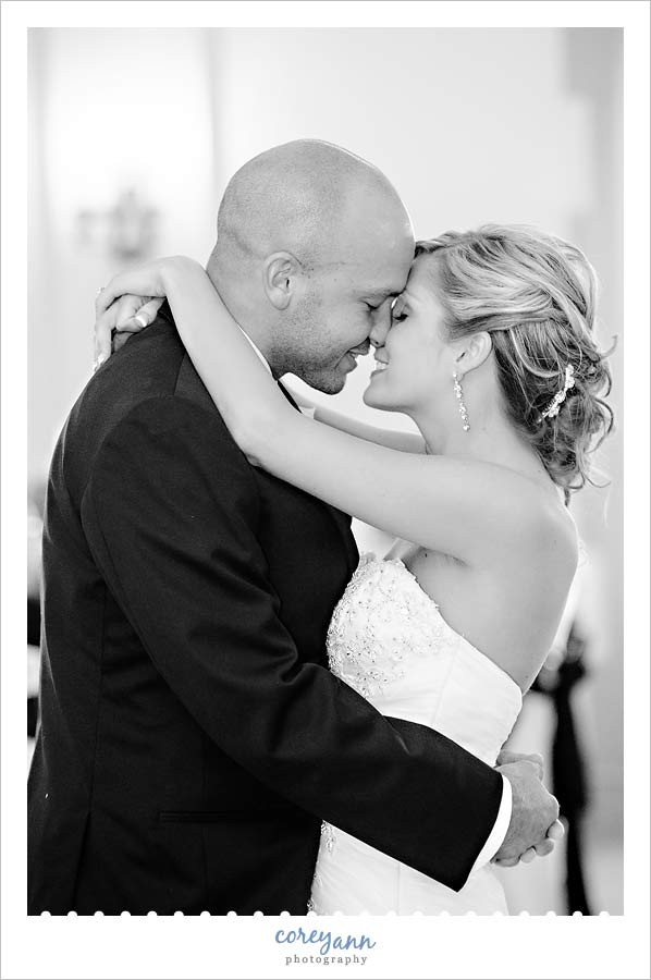 bride and groom first dance during wedding reception in canton ohio