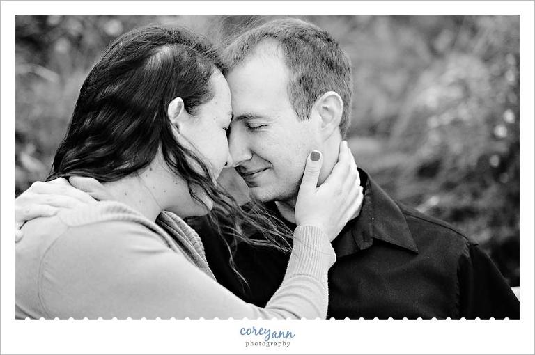 intimate moment during an engagement session in lakewood Ohio
