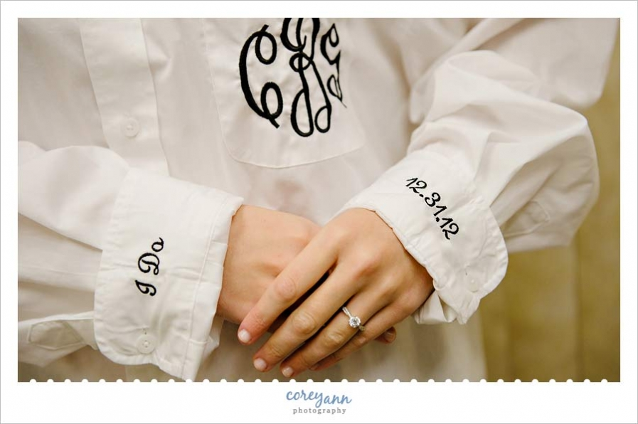 bride wearing a custom monogrammed button up shirt for wedding day