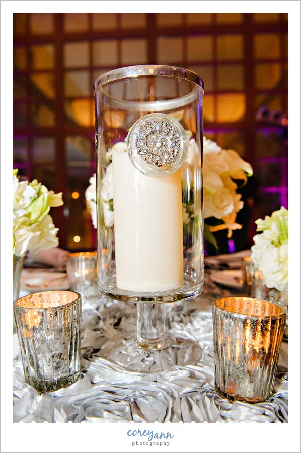 silver mercury glass centerpiece on a sweetheart table