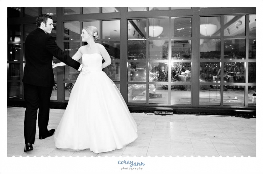 bride and groom first dance during wedding reception at the club at key center