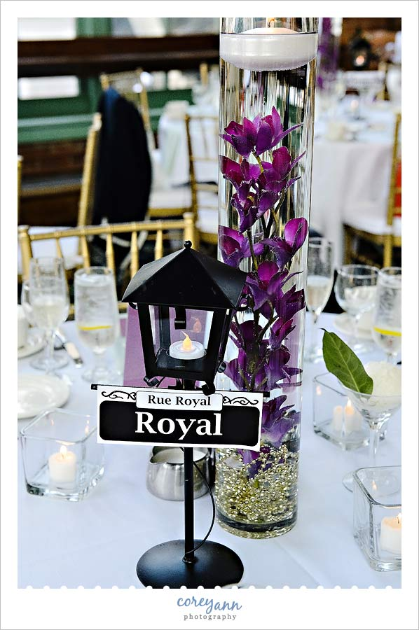 new orleans themed centerpiece at windows on the river wedding reception