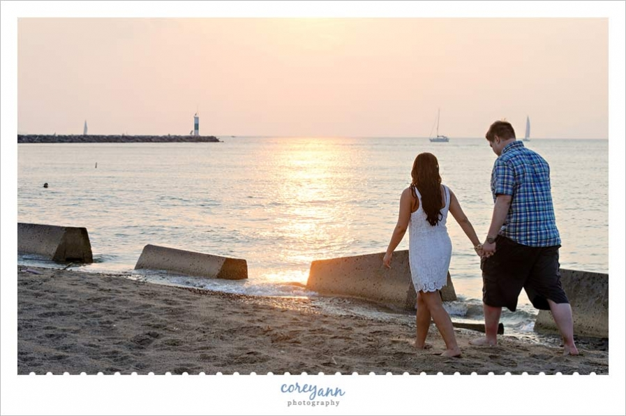 engagement portrait at sunset on lake erie