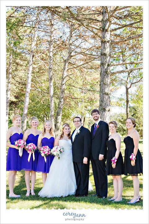 black and purple bridal party in ohio