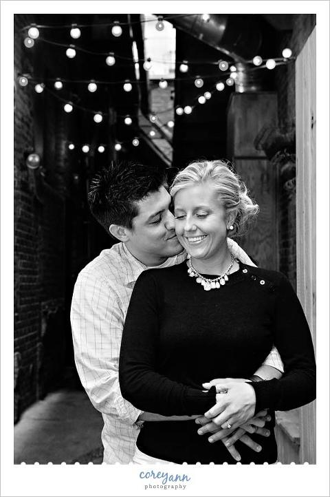 engagement session in downtown cleveland ohio on 4th street