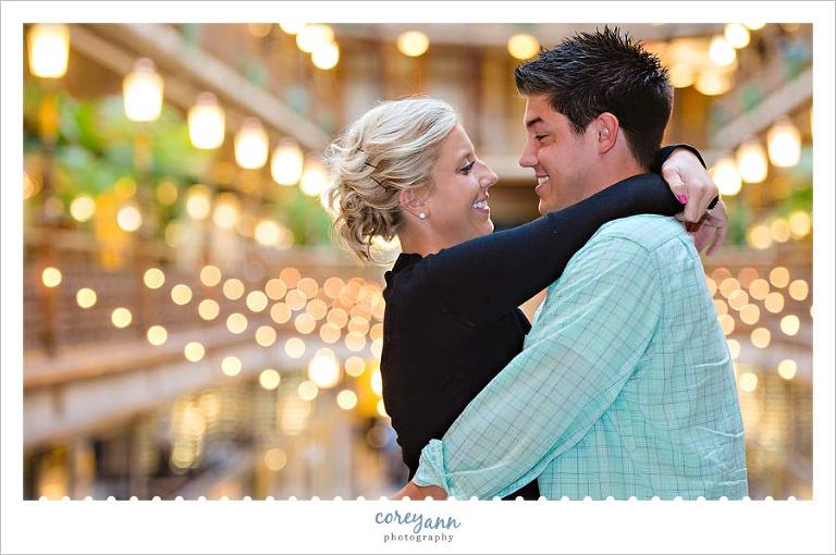 indoor engagement session at the hyatt arcade
