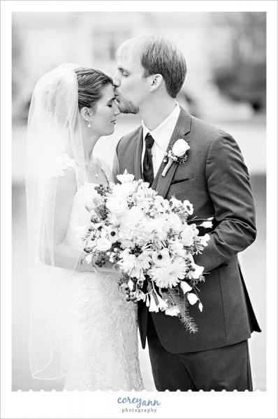 wedding portrait outside in december in Cleveland Ohio