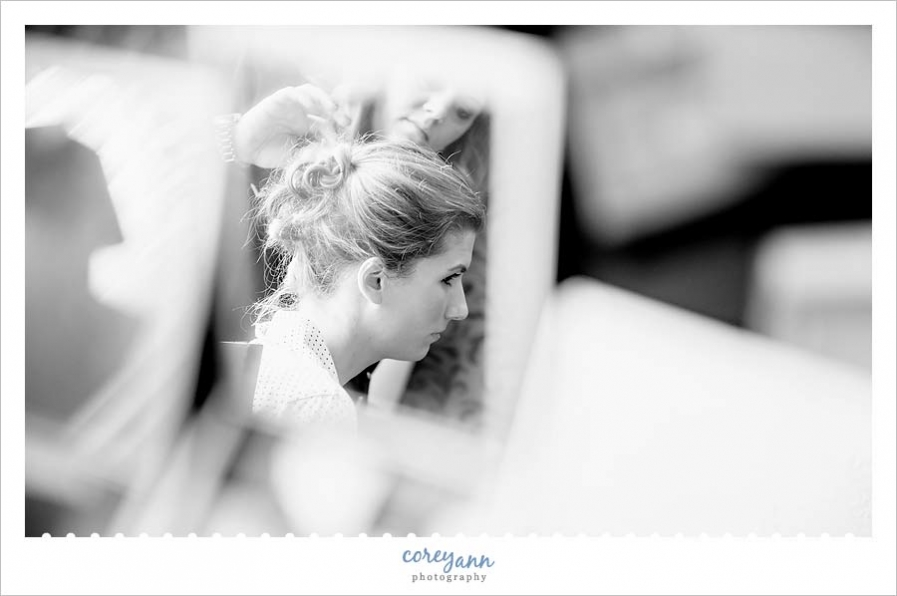 bride getting ready before wedding ceremony in cleveland ohio