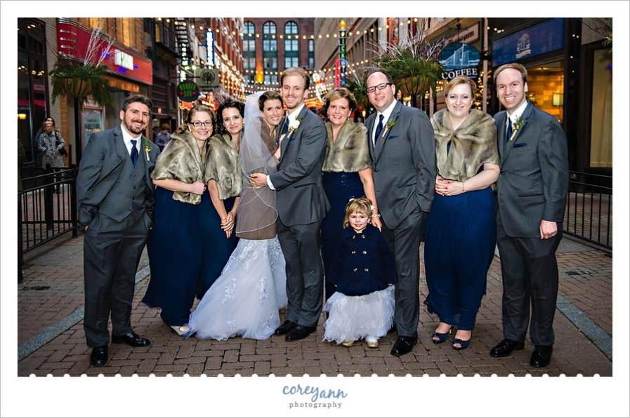 bridal party portrait on east 4th street in Cleveland Ohio