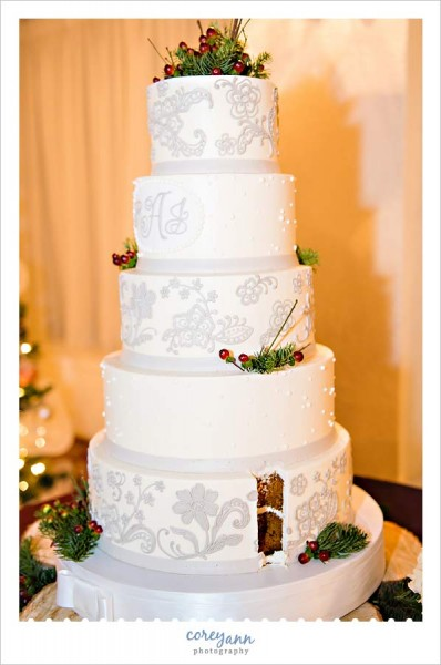 White and silver winter wedding cake with berries