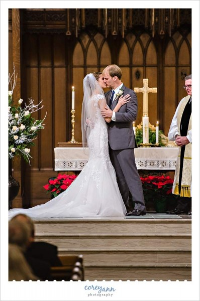 first kiss after wedding ceremony in university circle in Cleveland ohio