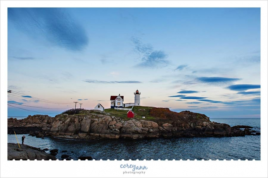 Nubble Light Lighthouse in Maine at sunset