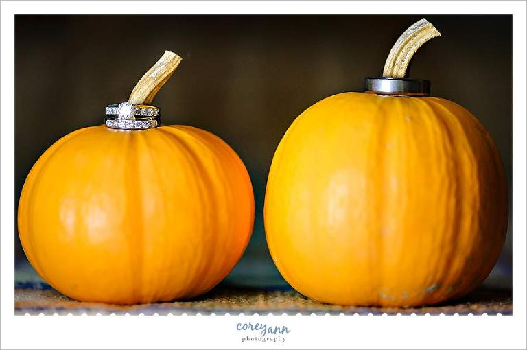 wedding rings on top of small pumpkins