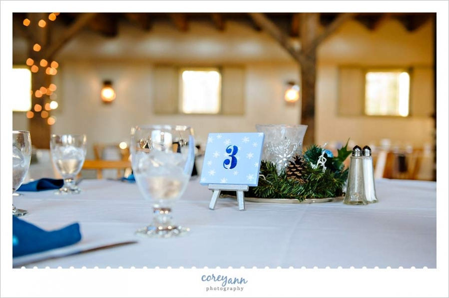 blue and white winter themed centerpieces