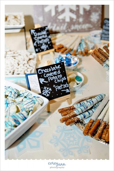 chocolate covered treats in blue and white at wedding reception