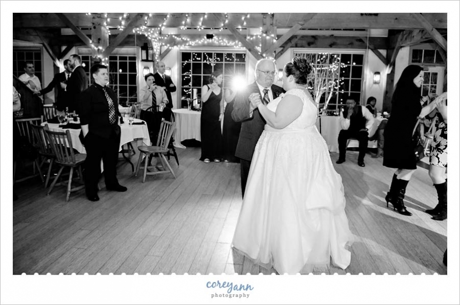 father daughter dance during wedding reception in westport ma