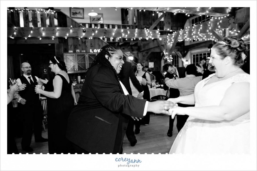 active dance floor during wedding reception at bittersweet farms