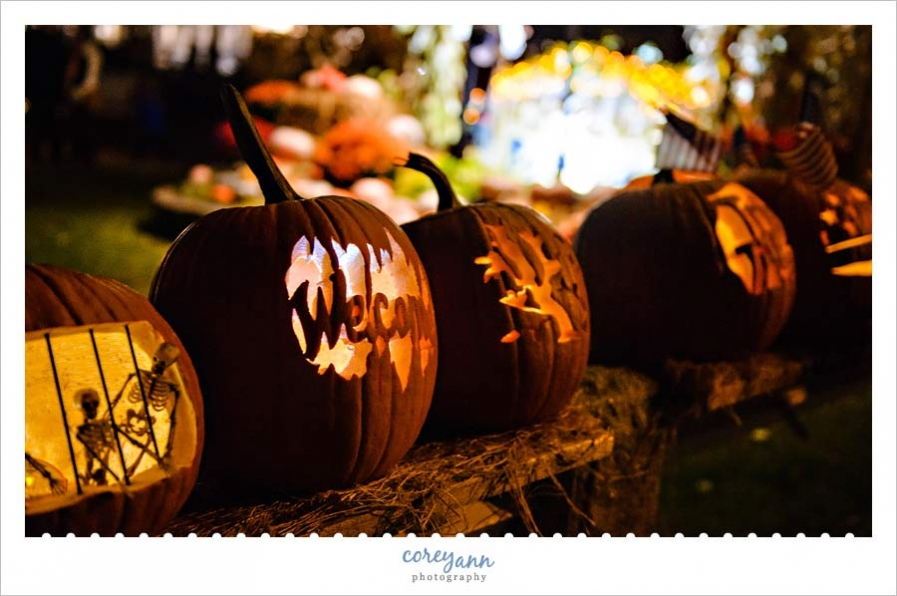 Ornately carved pumpkins alongside the road for Ogunquitfest