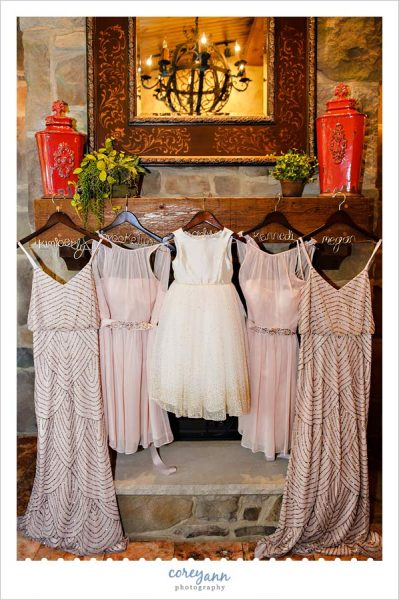 Dresses for wedding on fireplace in Canton