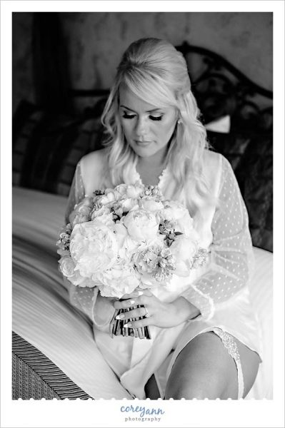 Bride with Bouquet in Black and White