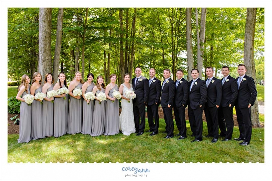 Grey Black and White Bridal Party Outside in June