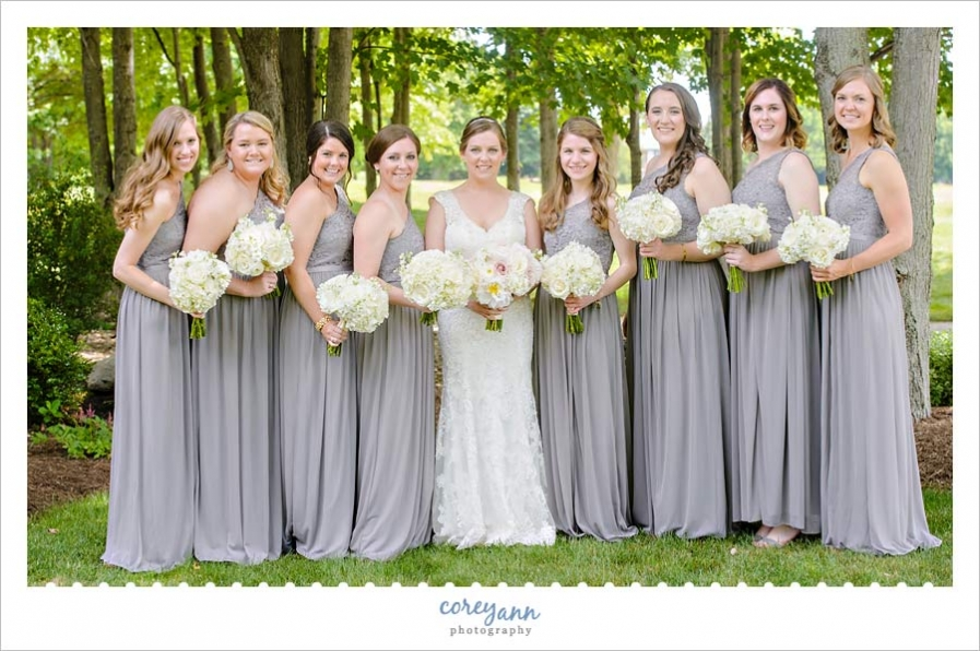 Bride and Bridesmaids with Grey Dresses and White Bouquets