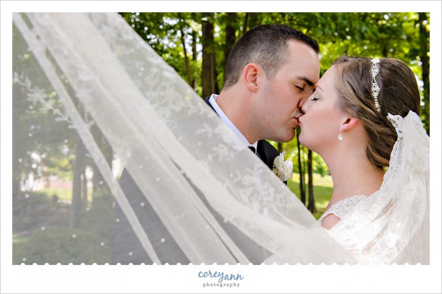 Bride and Groom Kiss Surrounded by Veil