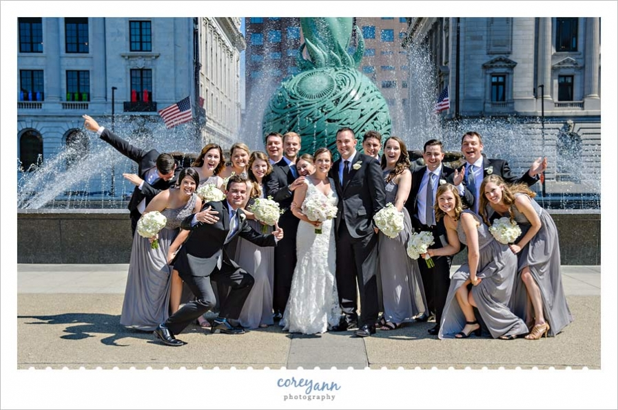 Wedding Party Fun Picture Outside the Marriott in Cleveland