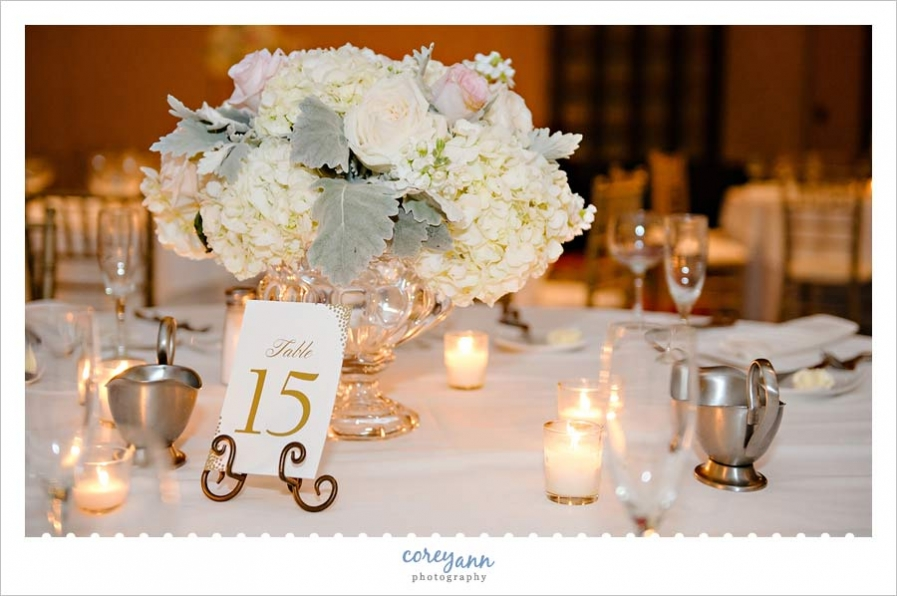 Soft color reception decor centerpieces by The Budding Tree at the Cleveland Marriott