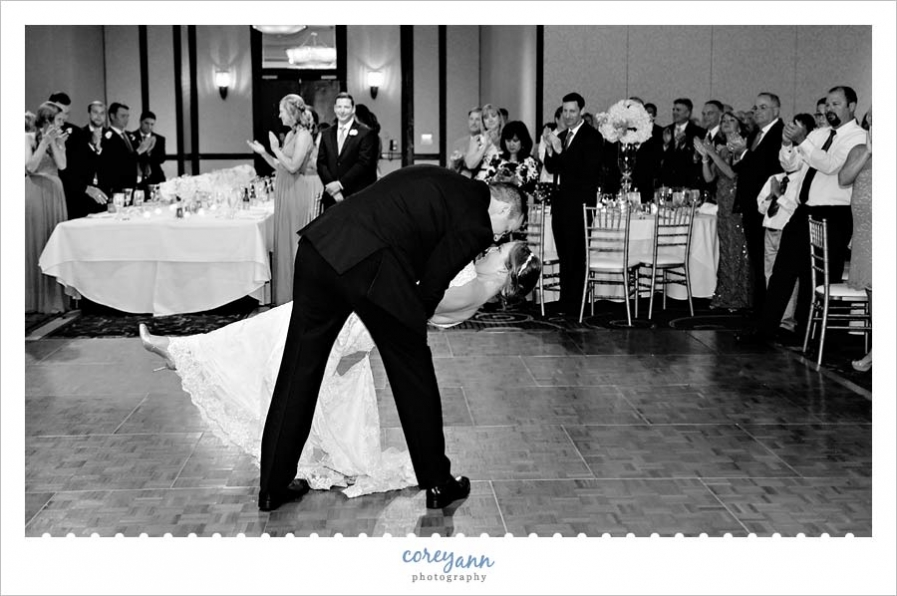 First dance dip at the wedding reception in downtown cleveland