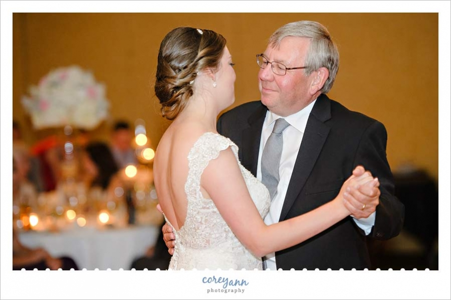 father daughter dance at wedding reception in ohio