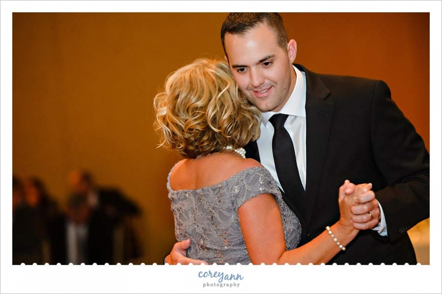 Mother Son dance during wedding reception in downtown cleveland