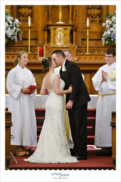 First Kiss During Wedding Ceremony at Holy Trinity in Avon