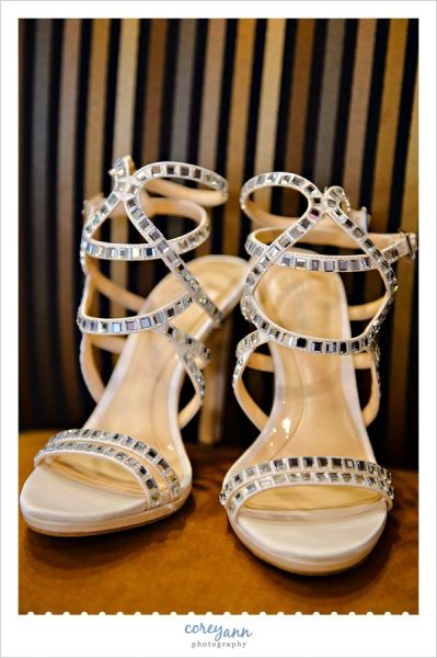 stunning strappy nude heels with square mirrors
