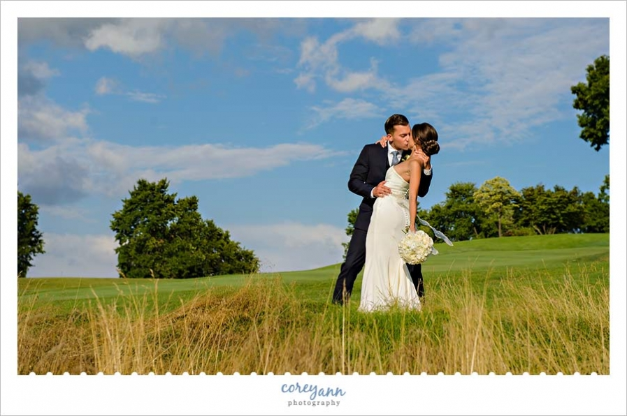 bride and groom portrait at brookside country club