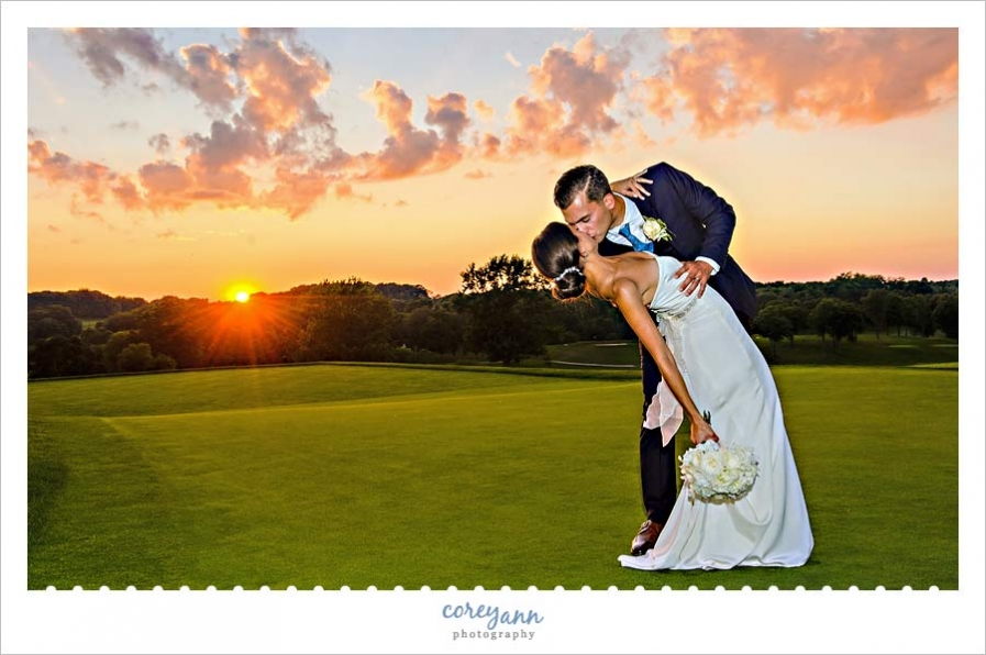 wedding sunset portrait at brookside country club