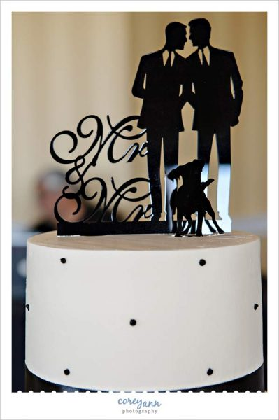 Black silhouette cake topper with a dog