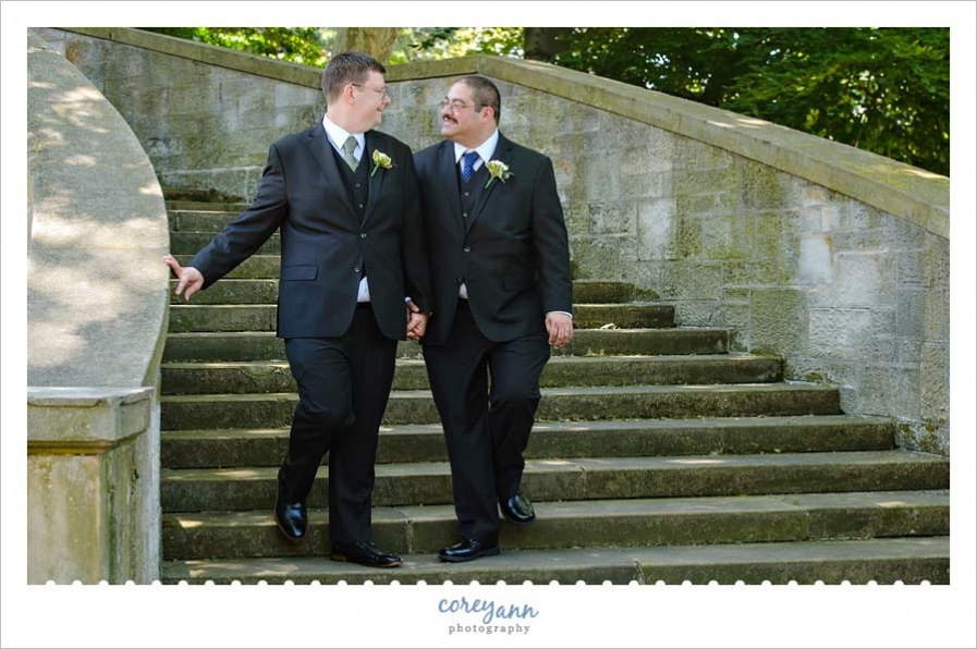 Gay grooms at the Cleveland Cultural Gardens in Ohio