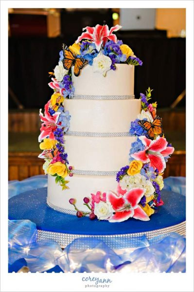 Wedding Cake with Butterflies and lots of color