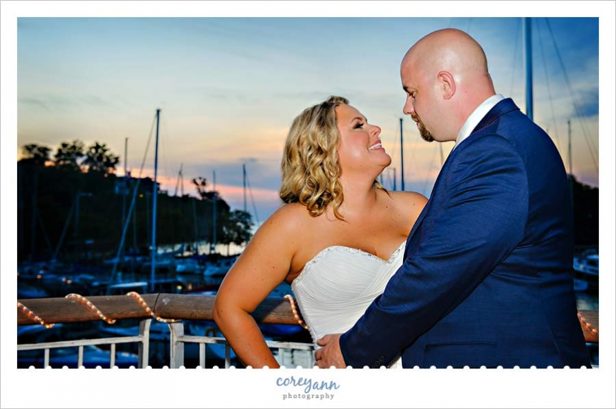 sunset wedding portrait at the Cleveland Yacht Club