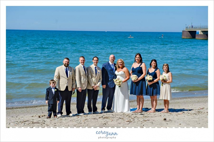 Bridal Party on beach of Lake Erie in Rocky River