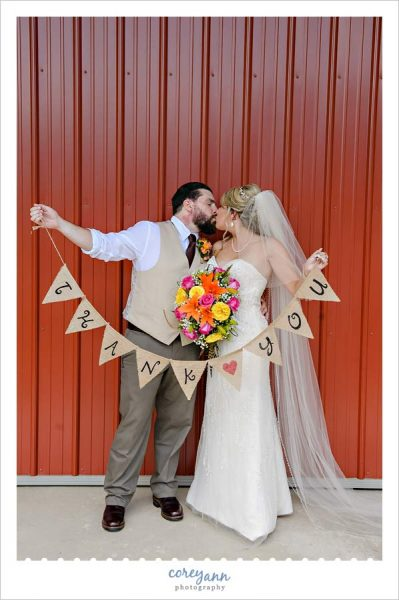 Bride and Groom with Thank You burlap banner