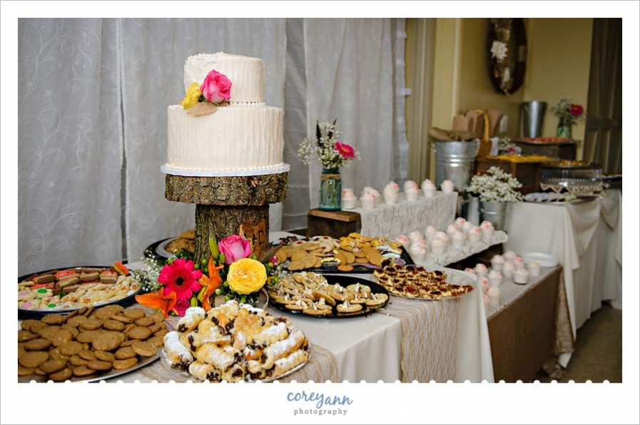 Cake and cookie table with lace and burlap