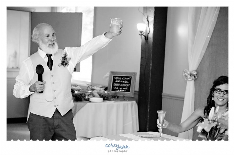 Father of Bride toast at wedding reception