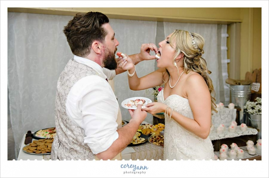 Cake cutting during reception in massillon ohio